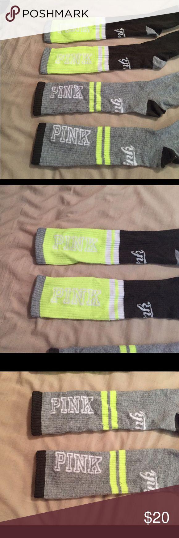Victoria's Secret PINK ankle high socks Pair of calf high Victoria's Secret PINK socks. Lime green, army green, & gray. PINK Victoria's Secret Accessories Hosiery & Socks