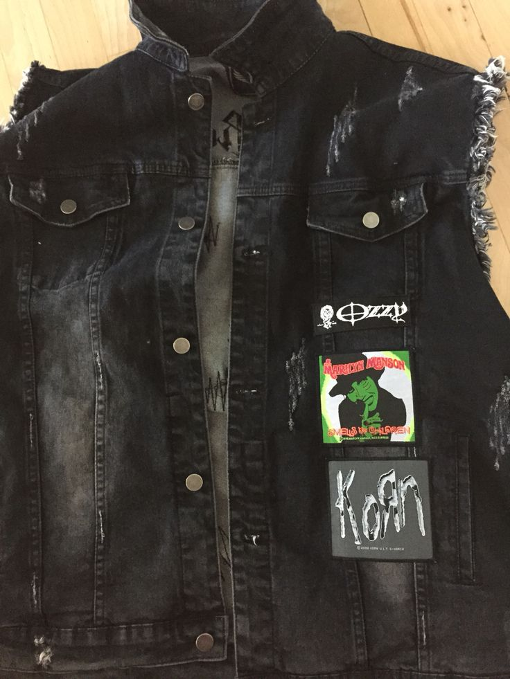 My #summer #vest with all new #patches #rock #metal  #clothes #marilynmamson #korn #ozzy