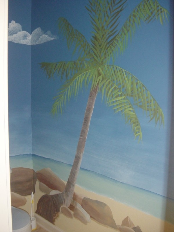 Beach mural for bathroom my work pinterest for Beach mural painting