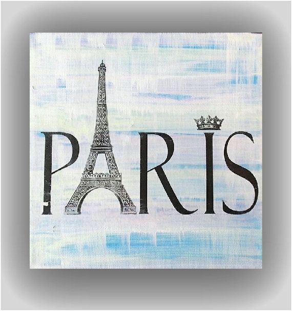 8x8 abstract on canvas Paris Eiffel Tower by Studio7CanvasSigns, $23.00