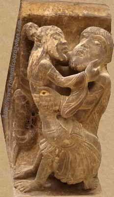 Representación de la Lujuria en canecillo de la iglesia de Santa María de Uncastillo (Zaragoza) (h.1155) -23