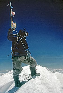 Edmund Hillary took this photograph of Tenzing Norgay as they set foot on the summit of Mt. Everest, the highest point on earth.