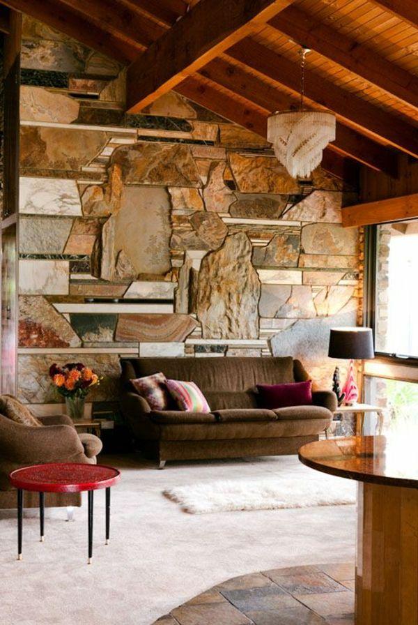 Wandverkelidung Steinoptik Steinwand Im Wohnzimmer Dekosteine Wand
