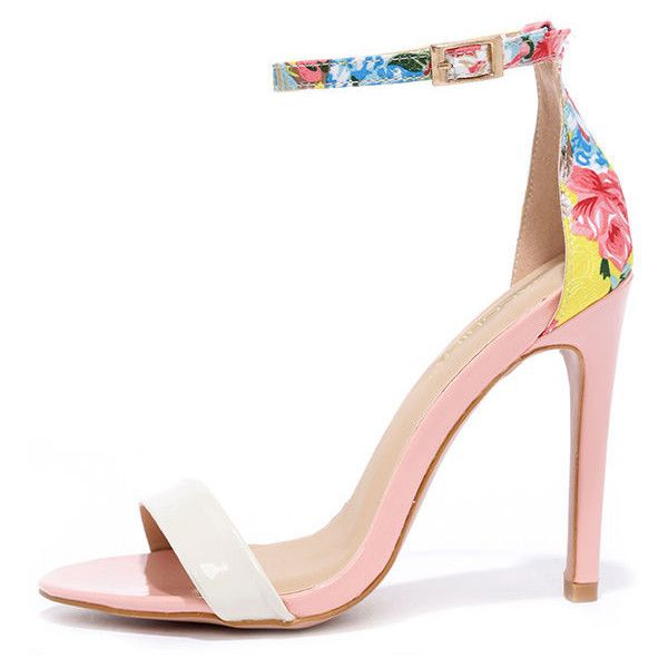 Sugar Dumpling Pink Floral Ankle Strap Heels ($33) ❤ liked on Polyvore featuring shoes, heels, sandals, pink, flower print pumps, floral print pumps, ankle wrap pumps, pink patent pumps and pink shoes