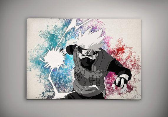 Kakashi Naruto Shippuuden Anime Manga Watercolor Print Poster  No219