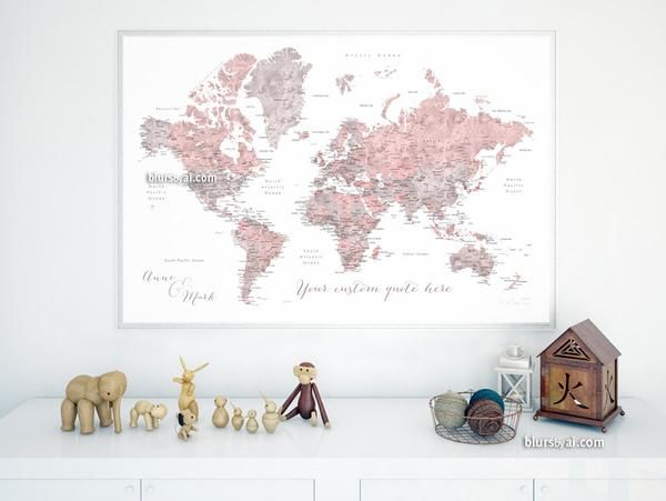 Best 25 world map canvas ideas on pinterest map canvas world custom quote dusty pink and grey watercolor printable world map with cities capitals gumiabroncs Choice Image