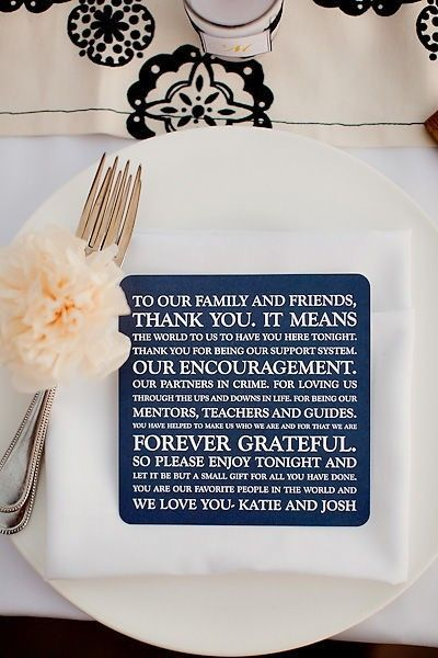 Love this idea! // A Thank You note at each place setting.