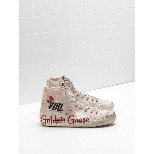 Neueste Golden Goose GGDB Francy Herren Sneakers Khaki Rot