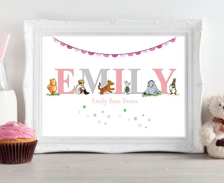 92 best plakati images on pinterest child room babies rooms and a4 personalised name winnie the pooh piglet christening new birth birthday giftpresent baby girls negle Image collections