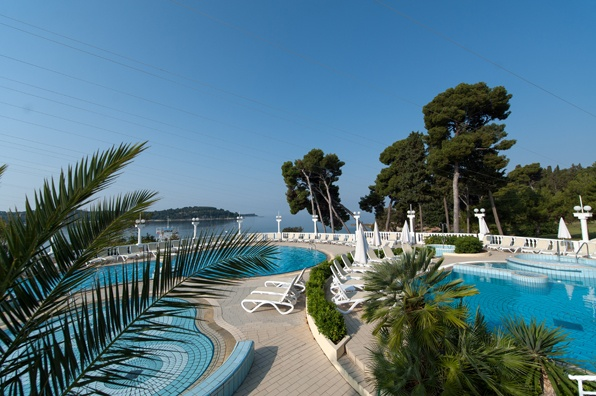 Two outdoor pools for adults and one for children  @ hotel Katarina, Rovinj, Croatia.  http://www.maistra.com/Accommodation/Hotels/Katarina_Rovinj