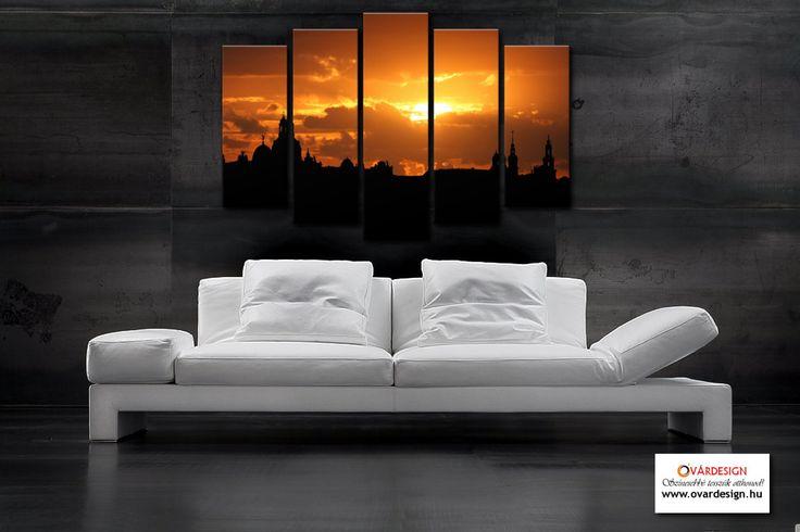 Mit szólnál egy ilyen szobához? Metropolis 5 részes modern vászonképek. Gyönyörű nagyvárosi naplementék teszik igazán hangulatossá az otthonod. Óvárdesign vászonkép webáruház