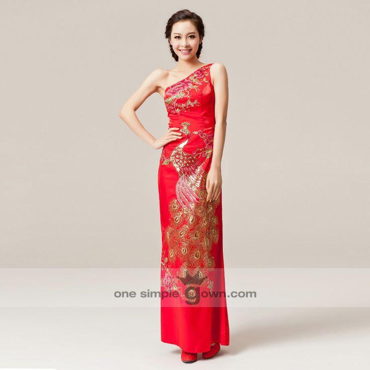 One Shoulder Phoenix Embroidery Sheath Floor Length Cheong Sam