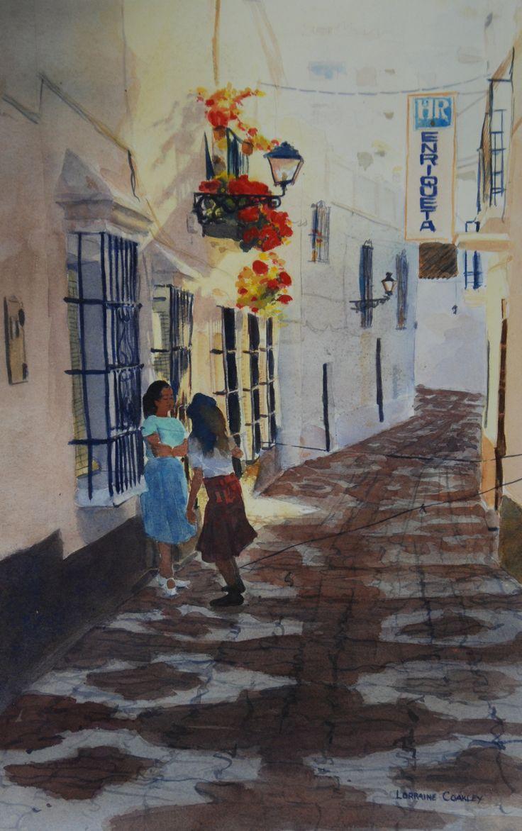 "Spanish Girls Skipping Watercolor 19""x26"""