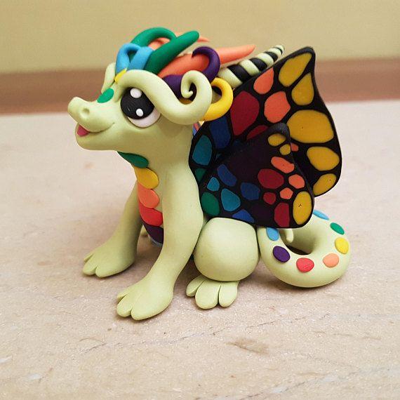 green butterfly rainbow dragon sculpture original gift idea