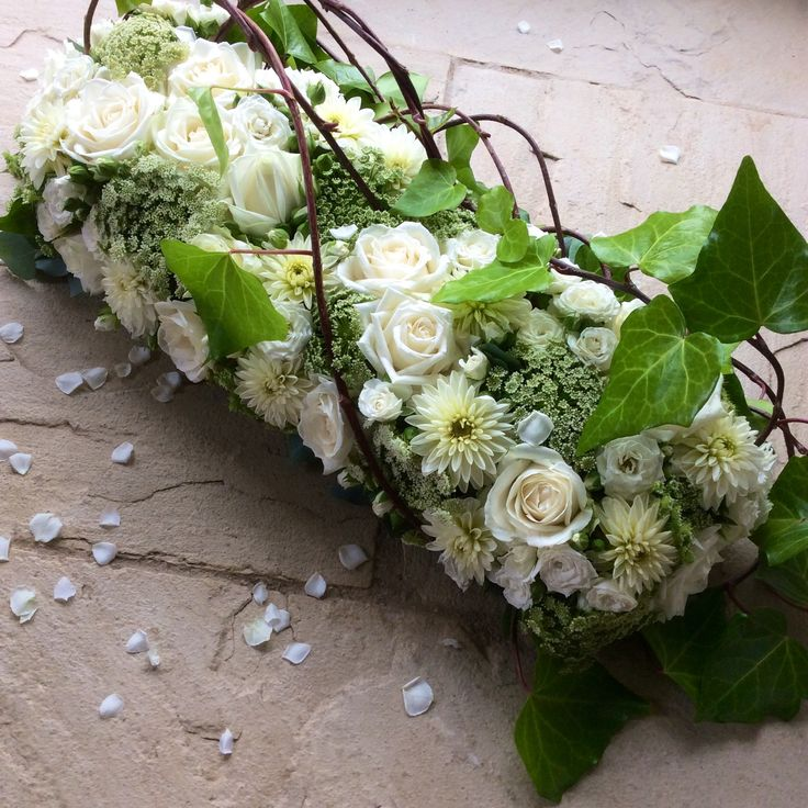 Contemporary woodland inspired funeral tribute with Dahlias, Ammi & Trailing Ivy