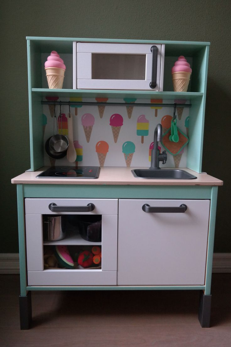 Our little girls loves her diy Ikea Duktig play kitchen! Paint by Karwei (color…