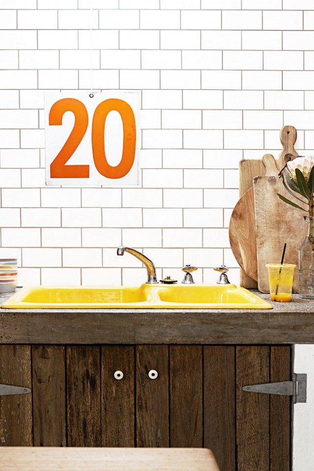 Rustic Kitchen With Yellow Sink