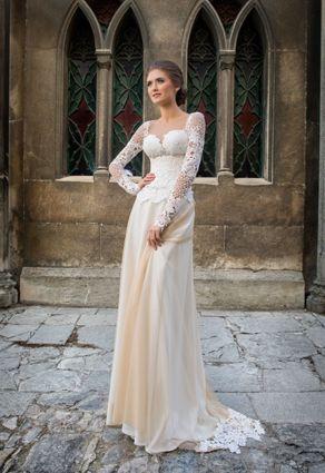 Nádherné dlhé retro svadobné šaty