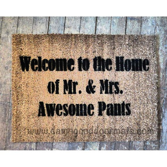 doormat Welcome to the Home of Mr & Mrs Awesome pants- funny Novelty doormat  S