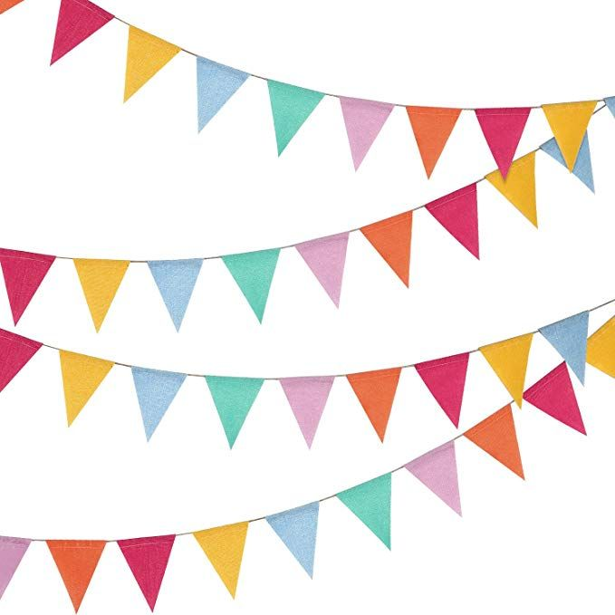 Amazon Com 24 Pieces Multicolored Triangle Flags 15 7 Feet Bunting Banner For Party Decoration Home Kitchen Fabric Decor Burlap Bunting Outdoor Bunting