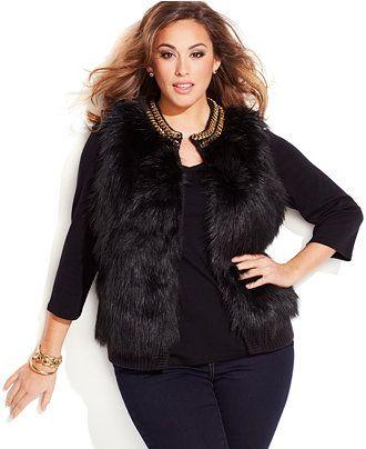 MICHAEL Michael Kors Plus Size Chain-Trim Faux-Fur Vest
