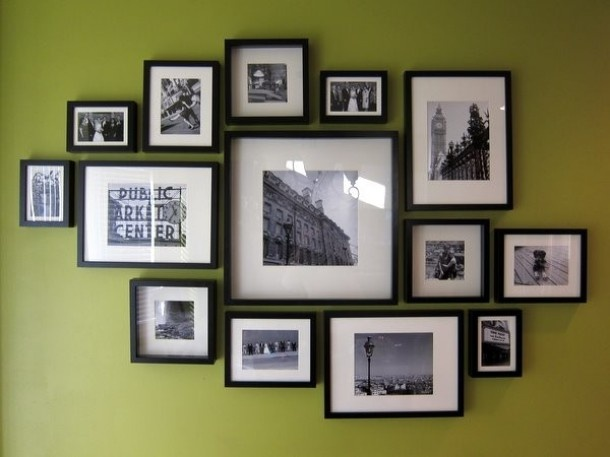 Pictures on the wall - hopefully the family wall will look a little like this once it's completed.