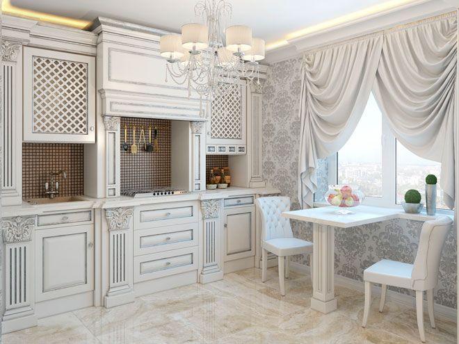 Кухня / Интерьер трехкомнатной квартиры в стиле современной классики на Ленинском пр.
