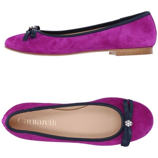 Cantarelli Ballet Flats ($229) ❤ liked on Polyvore featuring shoes, flats, purple, purple ballet flats, ballerina flat shoes, ballerina shoes, bow shoes and purple shoes