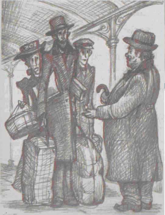 """В. Лопарев. Илюстрация к рассказу Чехова """"Толстый и тонкий."""""""
