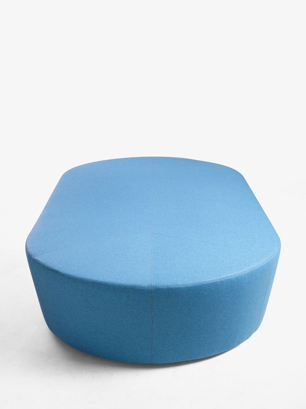 Derlot Editions - Pill is a range of sofas and ottomans designed for use in commercial applications. The units are able to be upholstered in virtually any fabric or leather. Pill works well as a stand alone piece, or grouped with other Pill family products.