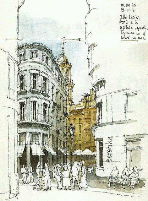 Historical Buildings Architectural Sketch