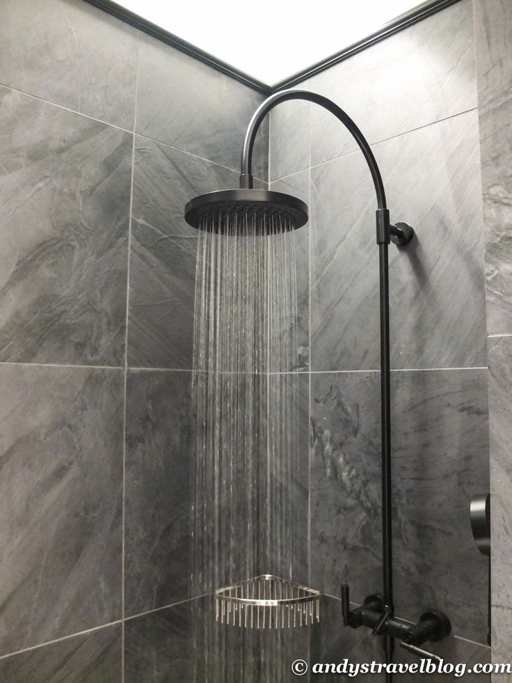 Spectacular Brushed Nickel Free Standing Head Waterfall Shower At Grey Porcelain Wall Tile In Small Apartment Stand Up Shower Ideas