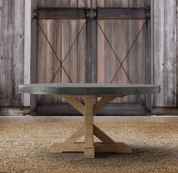 Concrete Round Dining Table eclectic outdoor tables