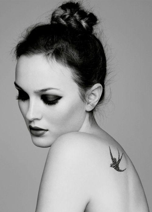 tattoo: Birds Tattoo, Mary Claire, Tattoo Patterns, A Tattoo, Shoulder Tattoo, Leighton Meester, Swallows Tattoo, Shouldertattoo, Gossip Girls