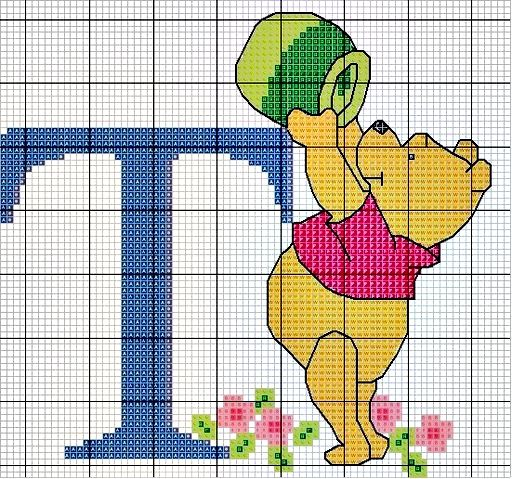 #Monograma Ursinho Pooh - letra T #bordado #CoatsCorrente