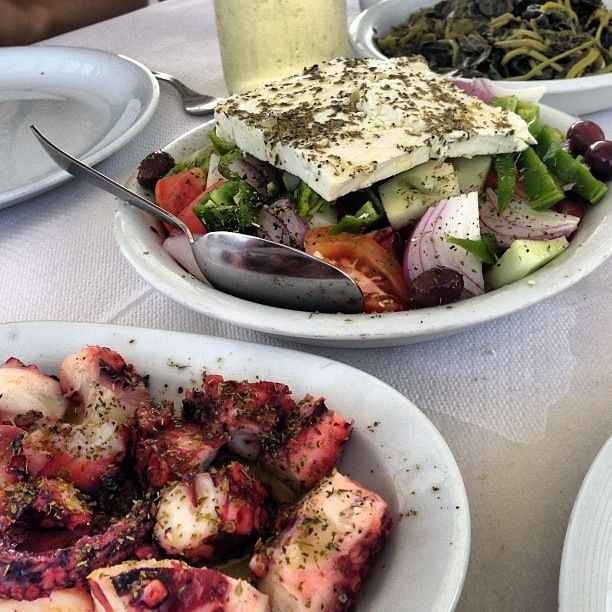 Octopus and Greek salad!