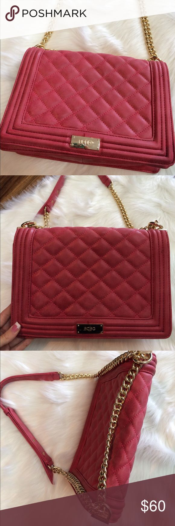 BCBG Paris Quilted Shoulder Bag Used ones. In brand new condition. This bag is GORGEOUS! Soft leather material. No trades. Like a wine color BCBG Bags Shoulder Bags