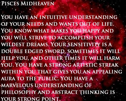 Pisces Midheaven  #MC  #astrology #zodiac https://www.facebook.com/TheZodiacZone