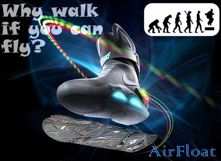 Las AirFloat són los nuevos zapatos que te permiten flotar en el aire ya que la suela és un imán que se repela con el skate de hierro. La nueva generación tecnologica ya está aqui.