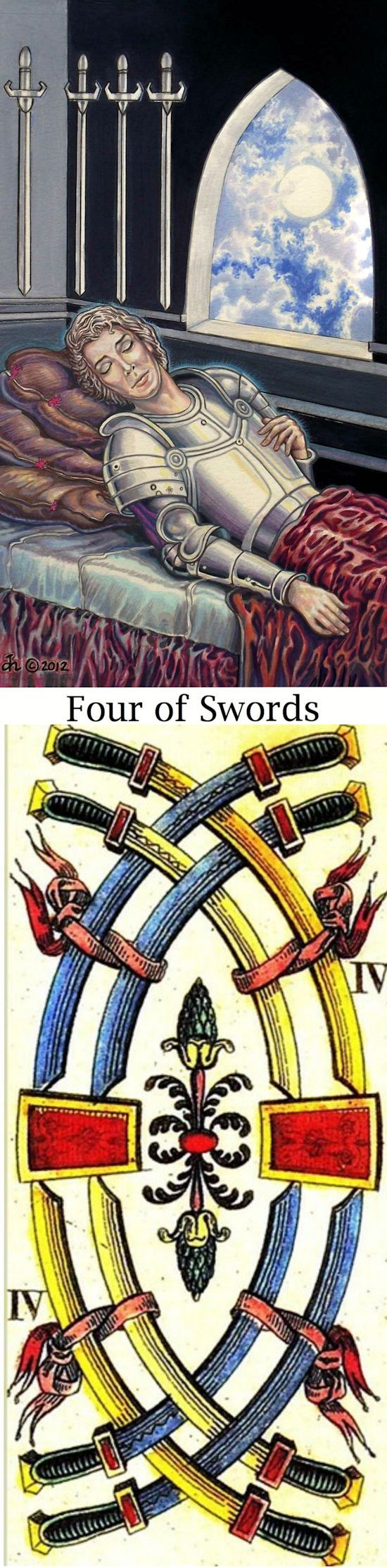Four of Swords: rest and pushing too hard without taking a pause to reflect; burning out (reverse). Sacredisle Tarot deck and Sofani Tarot deck: real tarot card reading free online, physic reading online and tarotvoodoo. The best wiccan spells and oracles woman.