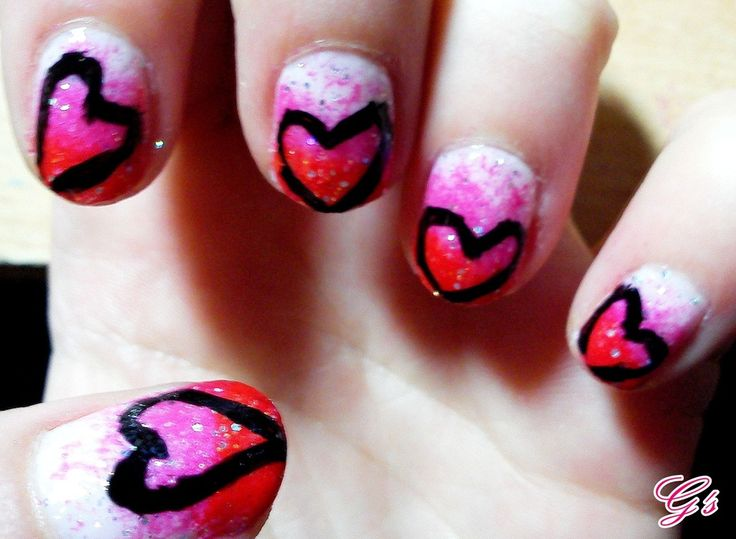 Hearts for Valentine's Day - This was my first nail desing. :) (2012) #nail #nails #Gs #heart #valentinesday #love #valentine