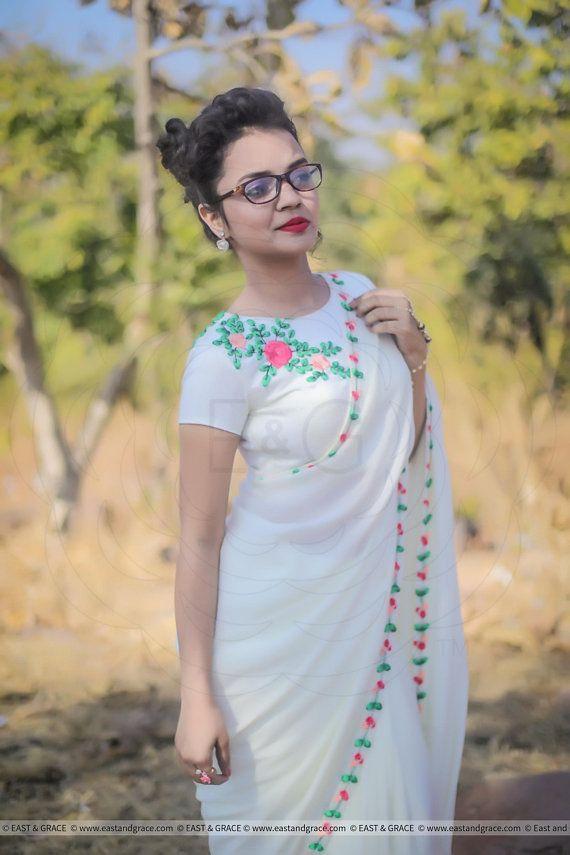 Creamery Pure Silk-Chiffon Ribbon Embroidered Saree #afflink #saree #embroidery #white #chiffon #indianfashion #lifestyle