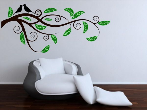 The makings of a tranquil nook to meditate: Living Rooms Wall, Murals Idea, Wall Murals, Art Design, Murals Art, Trees Murals, Birds Wall Decals, Contemporary Living Rooms, Living Rooms Green