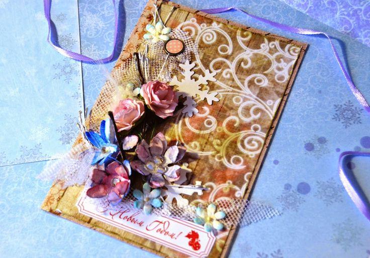новогодняя открытка с цветами