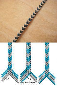 8-strand fishtail weave bracelet, chevron pattern . . . . ღTrish W ~ http://www.pinterest.com/trishw/ . . . . #handmade #jewelry #macrame .