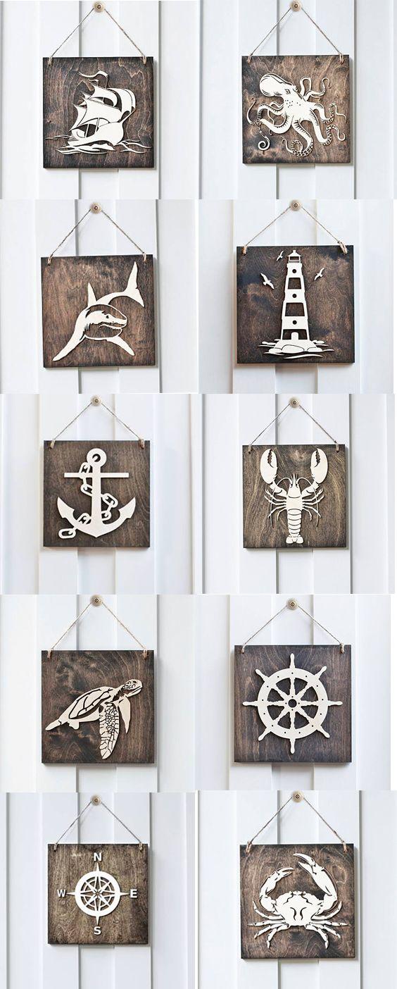 Wood Signs  #Nautical #Ocean #Lighthouse #shark #octopus #beachhouse #beach