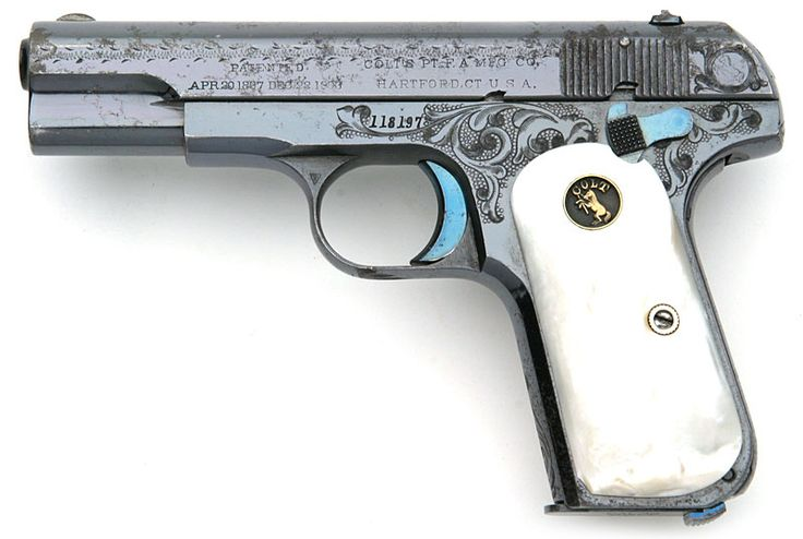 Factory Engraved Colt 1903 Pocket Hammerless .32 ACP serial number 118197 - Factory engraved, blue finish with recessed medallion mother of pearl grips.  Pistol was a single gun shipment shipped to Col. Emmett E. Walker, Asst. Quartermaster General, Austin, Texas on September 9, 1913.