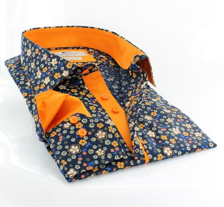 Claudio Lugli men's shirt w. vibrant orange lining and flower print http://claudioluglishirts.com/