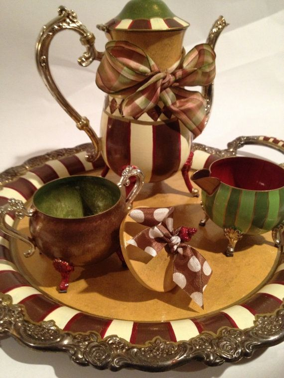Hand painted silver tea set tray CUSTOM by paintingbymichele