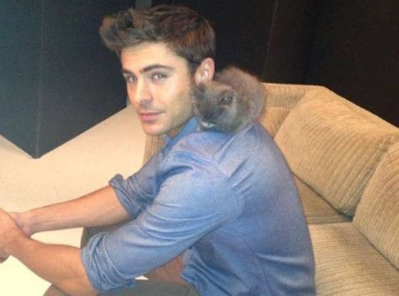 Zac Efron posing with a kitten... cuteness overload!